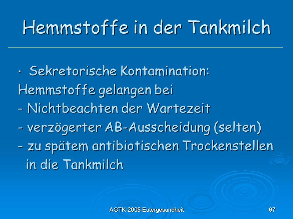 AGTK-2005-Eutergesundheit67 Hemmstoffe in der Tankmilch Sekretorische Kontamination: Sekretorische Kontamination: Hemmstoffe gelangen bei - Nichtbeach