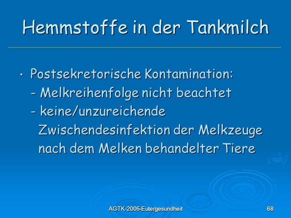 AGTK-2005-Eutergesundheit68 Hemmstoffe in der Tankmilch Postsekretorische Kontamination: Postsekretorische Kontamination: - Melkreihenfolge nicht beac