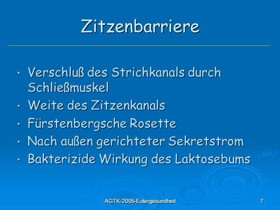 AGTK-2005-Eutergesundheit7 Zitzenbarriere Verschluß des Strichkanals durch Schließmuskel Verschluß des Strichkanals durch Schließmuskel Weite des Zitz