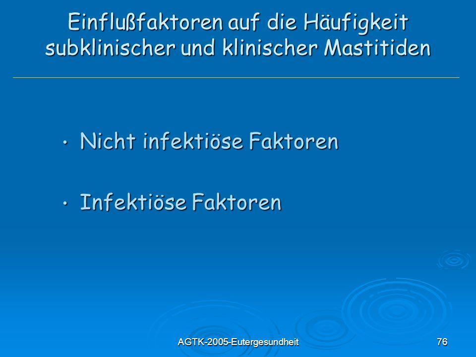 AGTK-2005-Eutergesundheit76 Einflußfaktoren auf die Häufigkeit subklinischer und klinischer Mastitiden Nicht infektiöse Faktoren Nicht infektiöse Fakt