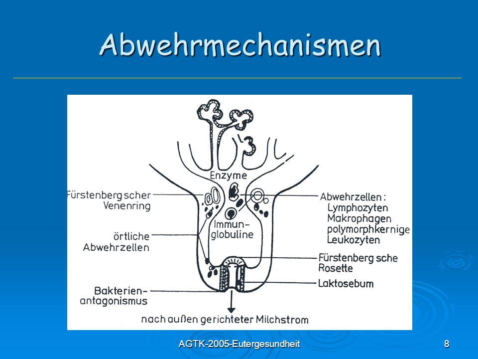 AGTK-2005-Eutergesundheit19 Mastitiden - Einteilung Problem: Problem: unterschiedliche Erreger verursachen gleiche Entzündungsformen und ein Erreger kann unterschiedliche Gewebereaktionen hervorrufen Unspezifische/Granulomatöse Mastitiden