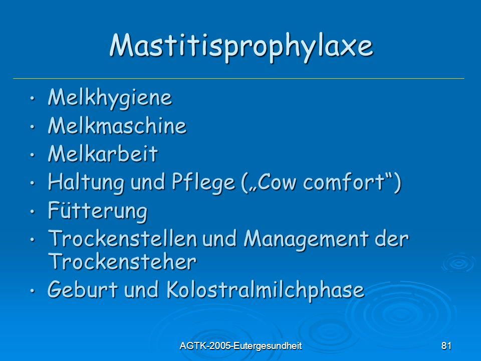 AGTK-2005-Eutergesundheit81 Mastitisprophylaxe Melkhygiene Melkhygiene Melkmaschine Melkmaschine Melkarbeit Melkarbeit Haltung und Pflege (Cow comfort