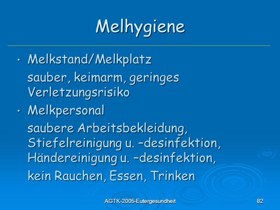 AGTK-2005-Eutergesundheit82 Melhygiene Melkstand/Melkplatz Melkstand/Melkplatz sauber, keimarm, geringes Verletzungsrisiko Melkpersonal Melkpersonal saubere Arbeitsbekleidung, Stiefelreinigung u.