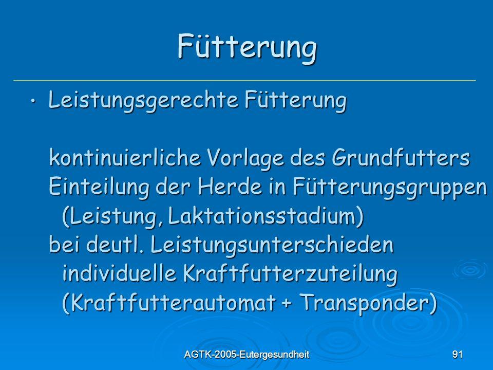 AGTK-2005-Eutergesundheit91 Fütterung Leistungsgerechte Fütterung Leistungsgerechte Fütterung kontinuierliche Vorlage des Grundfutters Einteilung der