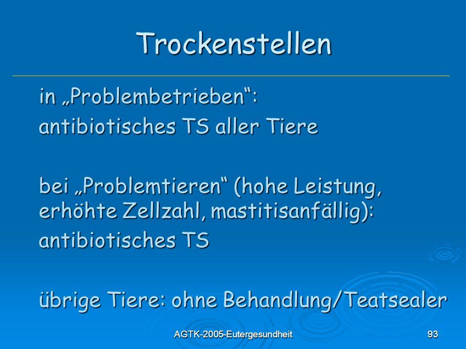 AGTK-2005-Eutergesundheit93 Trockenstellen in Problembetrieben: antibiotisches TS aller Tiere bei Problemtieren (hohe Leistung, erhöhte Zellzahl, mast
