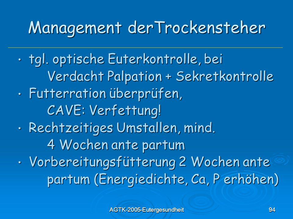 AGTK-2005-Eutergesundheit94 Management derTrockensteher tgl. optische Euterkontrolle, bei tgl. optische Euterkontrolle, bei Verdacht Palpation + Sekre