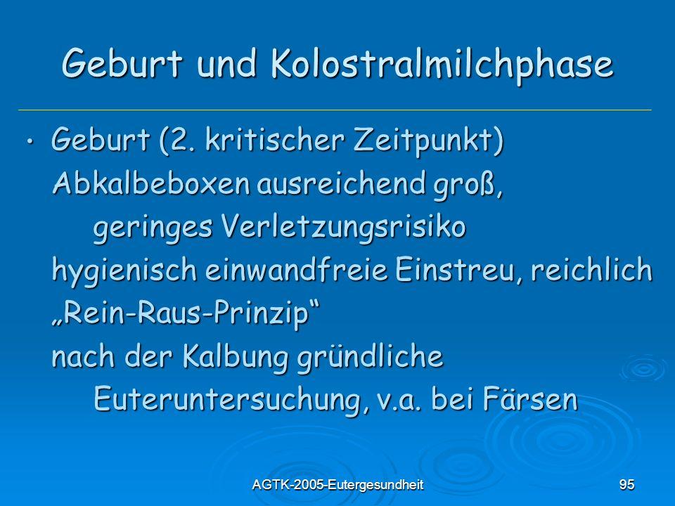 AGTK-2005-Eutergesundheit95 Geburt und Kolostralmilchphase Geburt (2. kritischer Zeitpunkt) Geburt (2. kritischer Zeitpunkt) Abkalbeboxen ausreichend