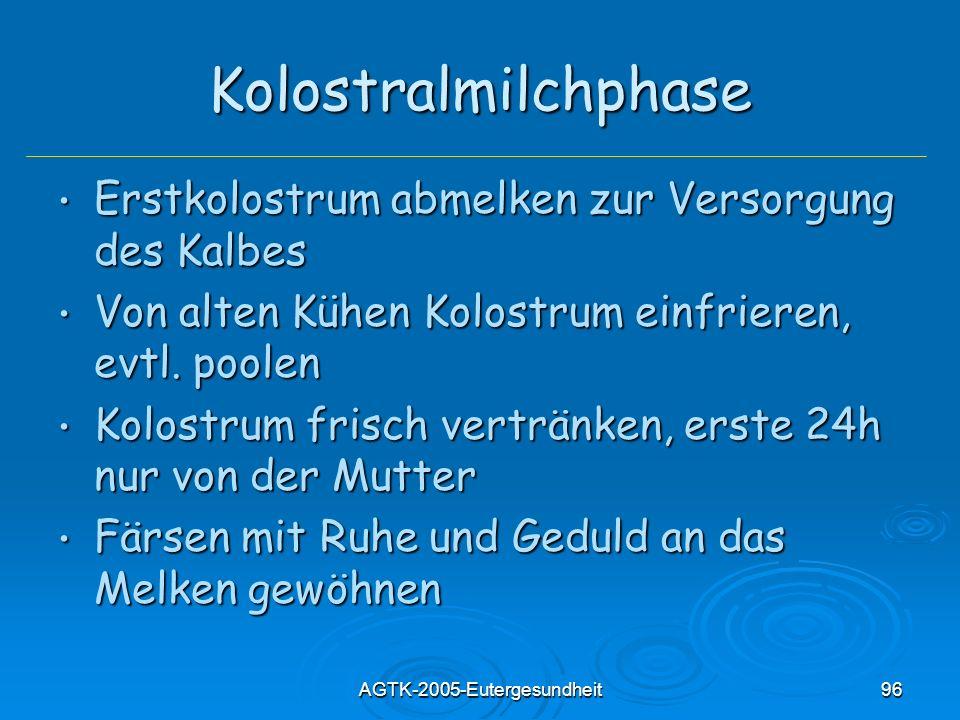 AGTK-2005-Eutergesundheit96 Kolostralmilchphase Erstkolostrum abmelken zur Versorgung des Kalbes Erstkolostrum abmelken zur Versorgung des Kalbes Von