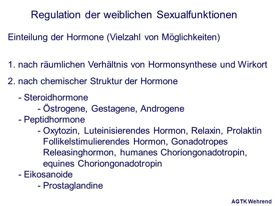AGTK Wehrend Regulation der weiblichen Sexualfunktionen Einteilung der Hormone (Vielzahl von Möglichkeiten) 1. nach räumlichen Verhältnis von Hormonsy