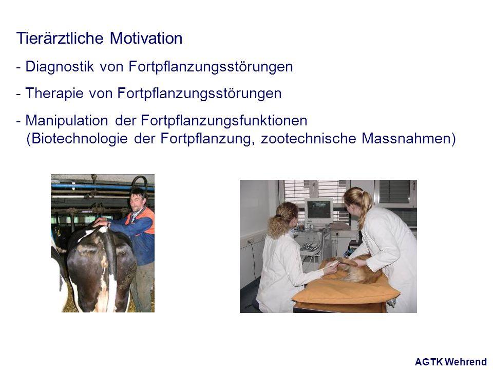 AGTK Wehrend Tierärztliche Motivation - Diagnostik von Fortpflanzungsstörungen - Therapie von Fortpflanzungsstörungen - Manipulation der Fortpflanzungsfunktionen (Biotechnologie der Fortpflanzung, zootechnische Massnahmen)