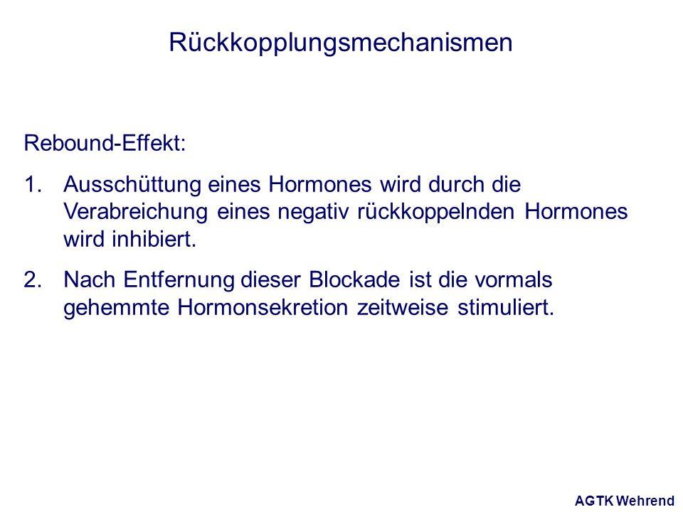 AGTK Wehrend Rückkopplungsmechanismen Rebound-Effekt: 1.Ausschüttung eines Hormones wird durch die Verabreichung eines negativ rückkoppelnden Hormones wird inhibiert.