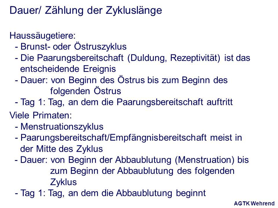 AGTK Wehrend Dauer/ Zählung der Zykluslänge Haussäugetiere: - Brunst- oder Östruszyklus - Die Paarungsbereitschaft (Duldung, Rezeptivität) ist das ent