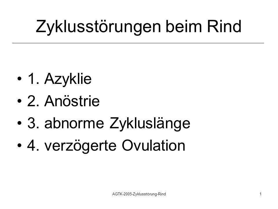 AGTK-2005-Zyklusstörung-Rind1 Zyklusstörungen beim Rind 1. Azyklie 2. Anöstrie 3. abnorme Zykluslänge 4. verzögerte Ovulation