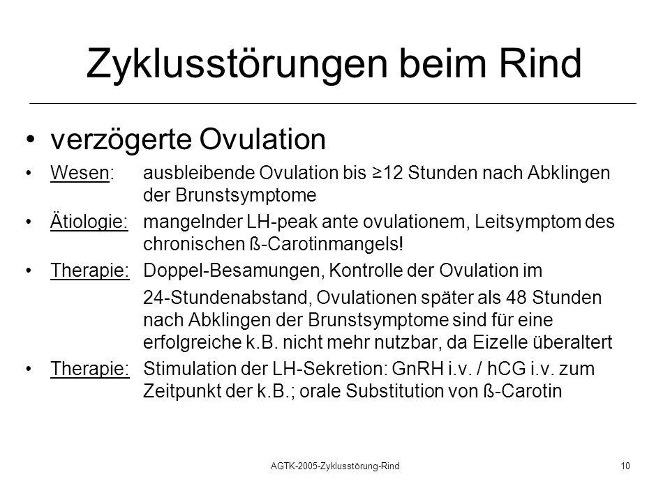 AGTK-2005-Zyklusstörung-Rind10 Zyklusstörungen beim Rind verzögerte Ovulation Wesen:ausbleibende Ovulation bis 12 Stunden nach Abklingen der Brunstsymptome Ätiologie: mangelnder LH-peak ante ovulationem, Leitsymptom des chronischen ß-Carotinmangels.