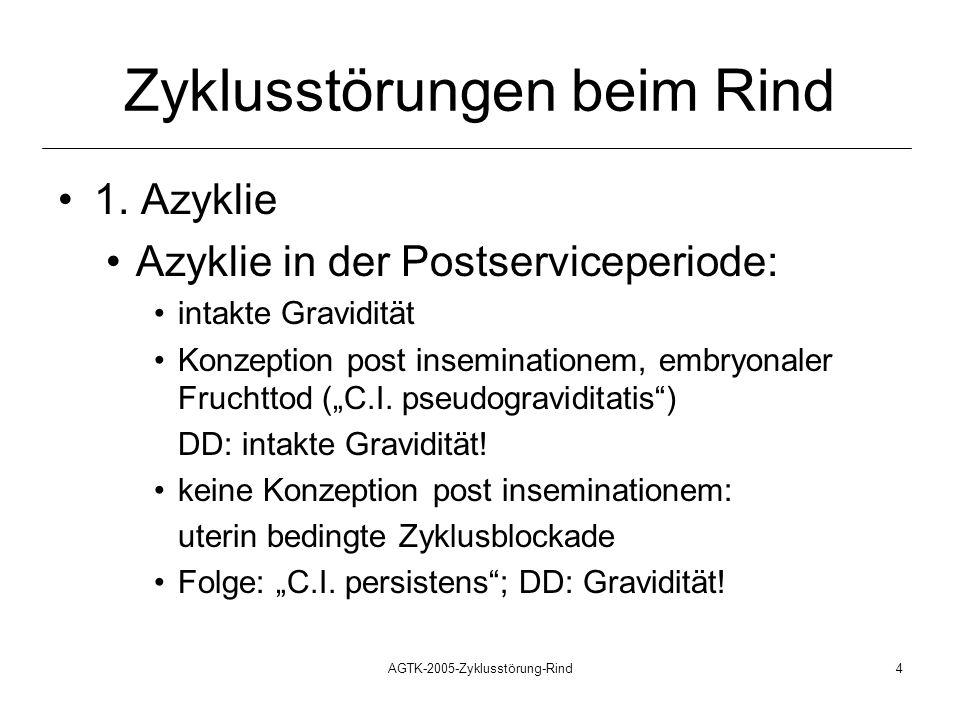 AGTK-2005-Zyklusstörung-Rind4 Zyklusstörungen beim Rind 1. Azyklie Azyklie in der Postserviceperiode: intakte Gravidität Konzeption post inseminatione