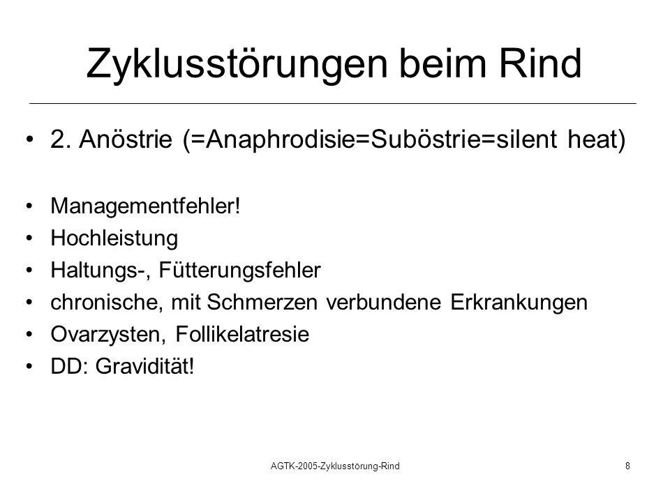 AGTK-2005-Zyklusstörung-Rind8 Zyklusstörungen beim Rind 2. Anöstrie (=Anaphrodisie=Suböstrie=silent heat) Managementfehler! Hochleistung Haltungs-, Fü
