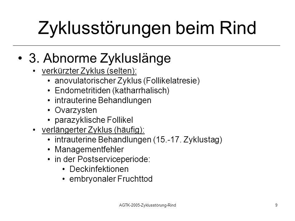 AGTK-2005-Zyklusstörung-Rind9 Zyklusstörungen beim Rind 3. Abnorme Zykluslänge verkürzter Zyklus (selten): anovulatorischer Zyklus (Follikelatresie) E