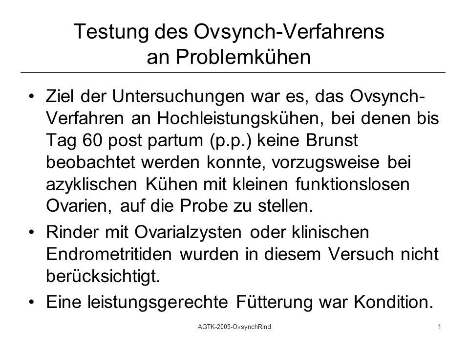 AGTK-2005-OvsynchRind1 Testung des Ovsynch-Verfahrens an Problemkühen Ziel der Untersuchungen war es, das Ovsynch- Verfahren an Hochleistungskühen, be