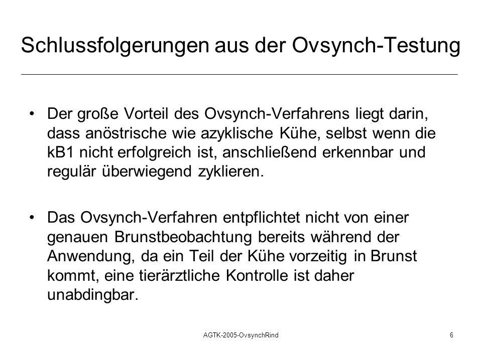 AGTK-2005-OvsynchRind7 Schlussfolgerungen aus der Ovsynch-Testung Das Ovsynch-Verfahren ist nicht als das Allheilmittel anzusehen, welches in die Lage versetzen könnte, Brunstbeobachtung und tierärztliches Herdenmanagement einzusparen.