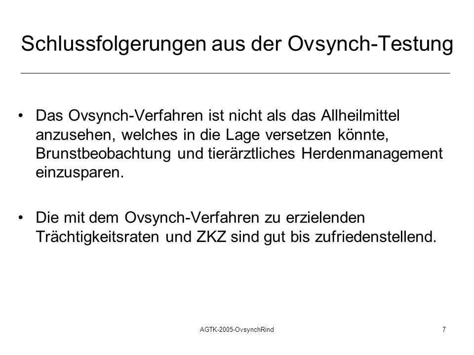 AGTK-2005-OvsynchRind7 Schlussfolgerungen aus der Ovsynch-Testung Das Ovsynch-Verfahren ist nicht als das Allheilmittel anzusehen, welches in die Lage