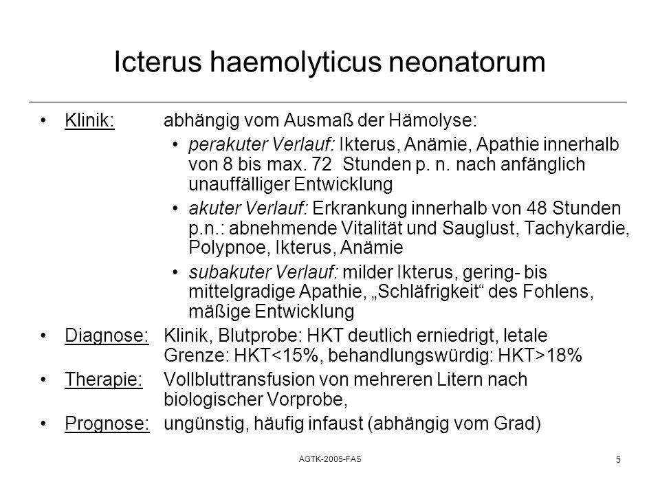 AGTK-2005-FAS 5 Icterus haemolyticus neonatorum Klinik:abhängig vom Ausmaß der Hämolyse: perakuter Verlauf: Ikterus, Anämie, Apathie innerhalb von 8 b