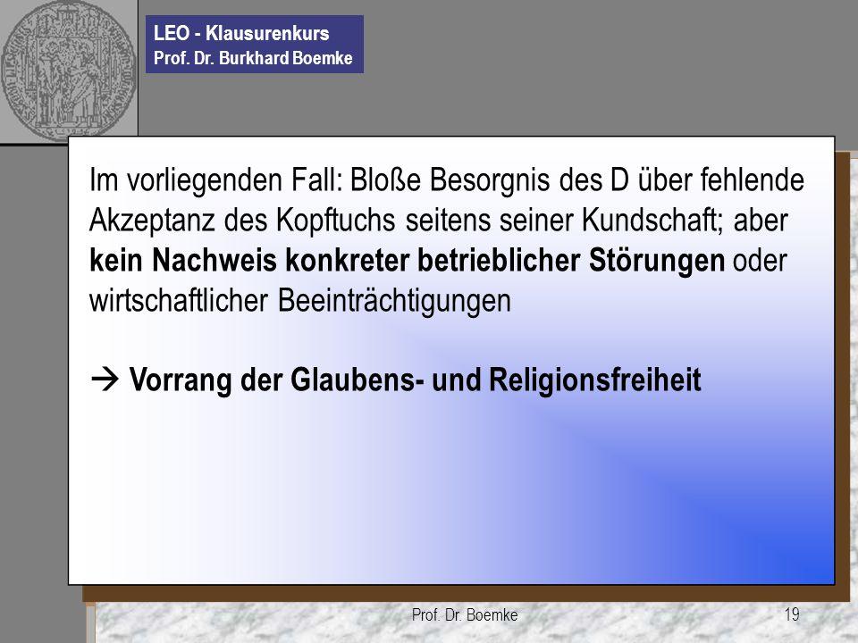 LEO - Klausurenkurs Prof. Dr. Burkhard Boemke Prof. Dr. Boemke19 Im vorliegenden Fall: Bloße Besorgnis des D über fehlende Akzeptanz des Kopftuchs sei