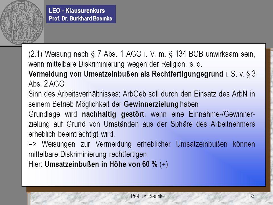 LEO - Klausurenkurs Prof. Dr. Burkhard Boemke Prof. Dr. Boemke33 (2.1) Weisung nach § 7 Abs. 1 AGG i. V. m. § 134 BGB unwirksam sein, wenn mittelbare