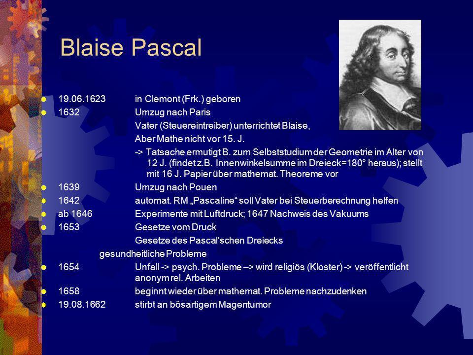 Blaise Pascal 19.06.1623in Clemont (Frk.) geboren 1632Umzug nach Paris Vater (Steuereintreiber) unterrichtet Blaise, Aber Mathe nicht vor 15. J. -> Ta