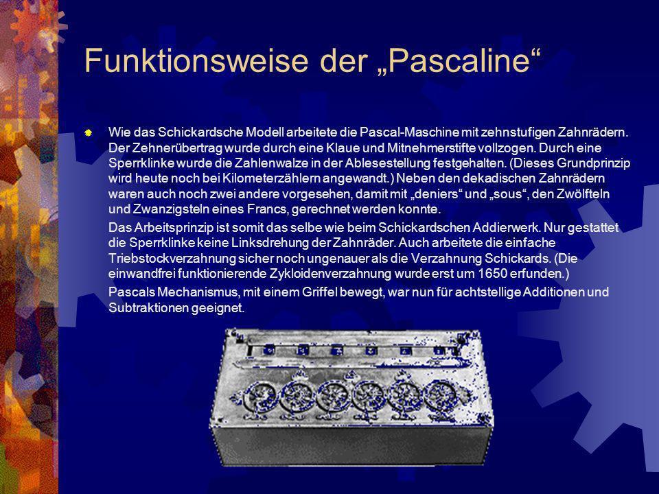 Funktionsweise der Pascaline Wie das Schickardsche Modell arbeitete die Pascal-Maschine mit zehnstufigen Zahnrädern. Der Zehnerübertrag wurde durch ei