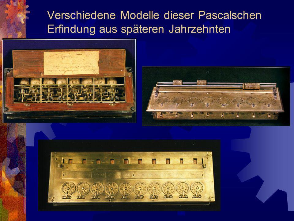Verschiedene Modelle dieser Pascalschen Erfindung aus späteren Jahrzehnten