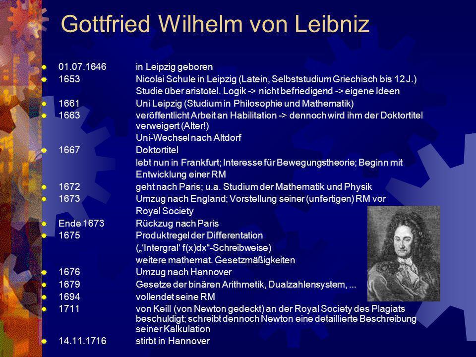 Gottfried Wilhelm von Leibniz 01.07.1646in Leipzig geboren 1653Nicolai Schule in Leipzig (Latein, Selbststudium Griechisch bis 12 J.) Studie über aris