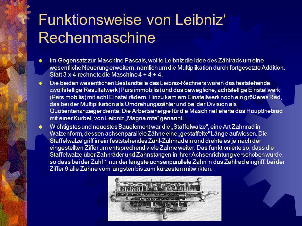 Funktionsweise von Leibniz Rechenmaschine Im Gegensatz zur Maschine Pascals, wollte Leibniz die Idee des Zählrads um eine wesentliche Neuerung erweite