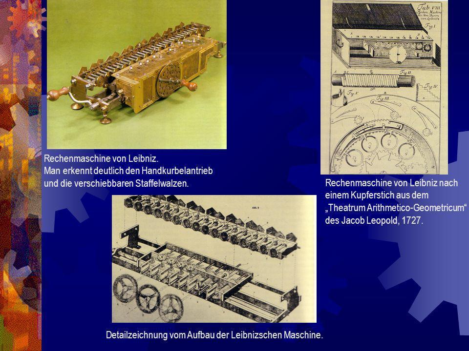 Rechenmaschine von Leibniz. Man erkennt deutlich den Handkurbelantrieb und die verschiebbaren Staffelwalzen. Rechenmaschine von Leibniz nach einem Kup