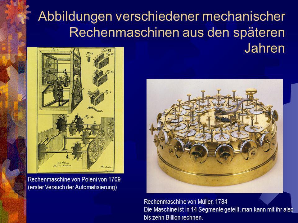 Abbildungen verschiedener mechanischer Rechenmaschinen aus den späteren Jahren Rechenmaschine von Poleni von 1709 (erster Versuch der Automatisierung)