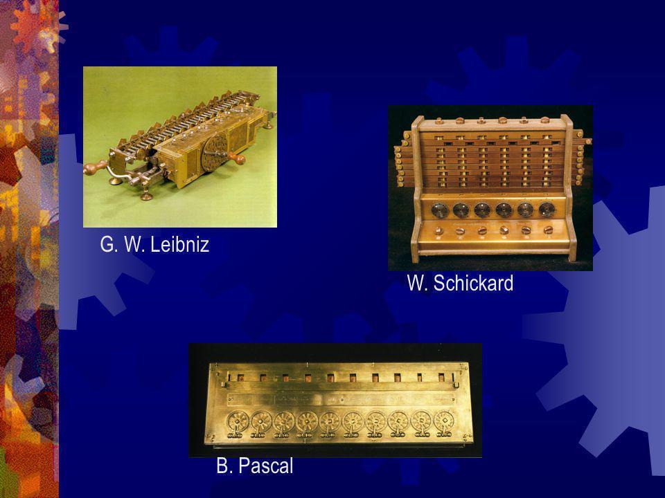 W. Schickard G. W. Leibniz B. Pascal
