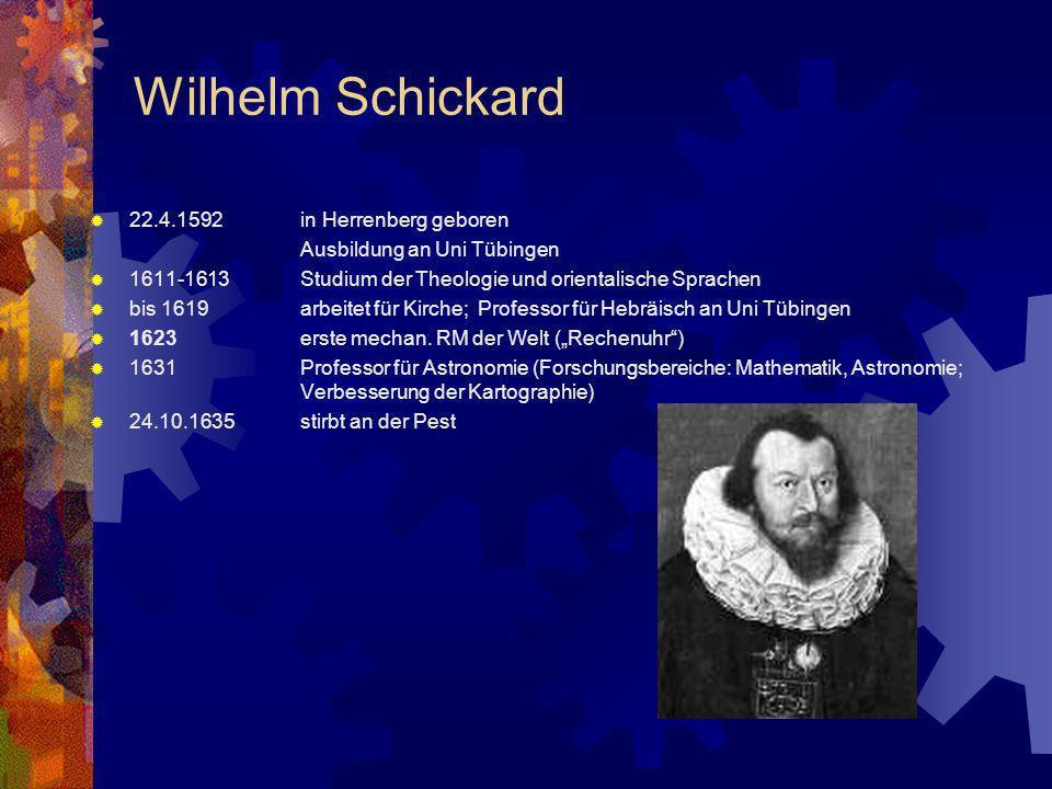 Wilhelm Schickard 22.4.1592in Herrenberg geboren Ausbildung an Uni Tübingen 1611-1613Studium der Theologie und orientalische Sprachen bis 1619arbeitet