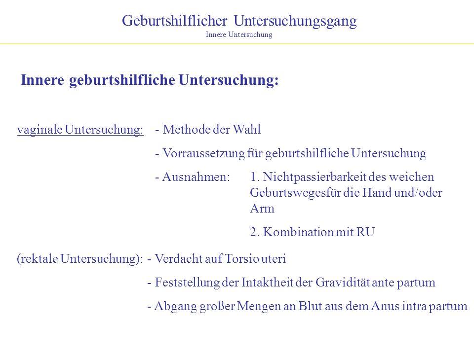 Geburtshilflicher Untersuchungsgang Innere Untersuchung Innere geburtshilfliche Untersuchung: - Methode der Wahl - Vorraussetzung für geburtshilfliche