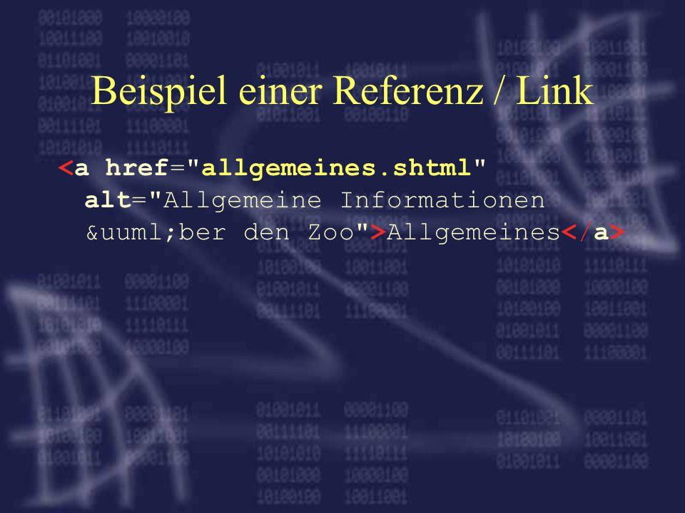 Beispiel einer Referenz / Link Allgemeines