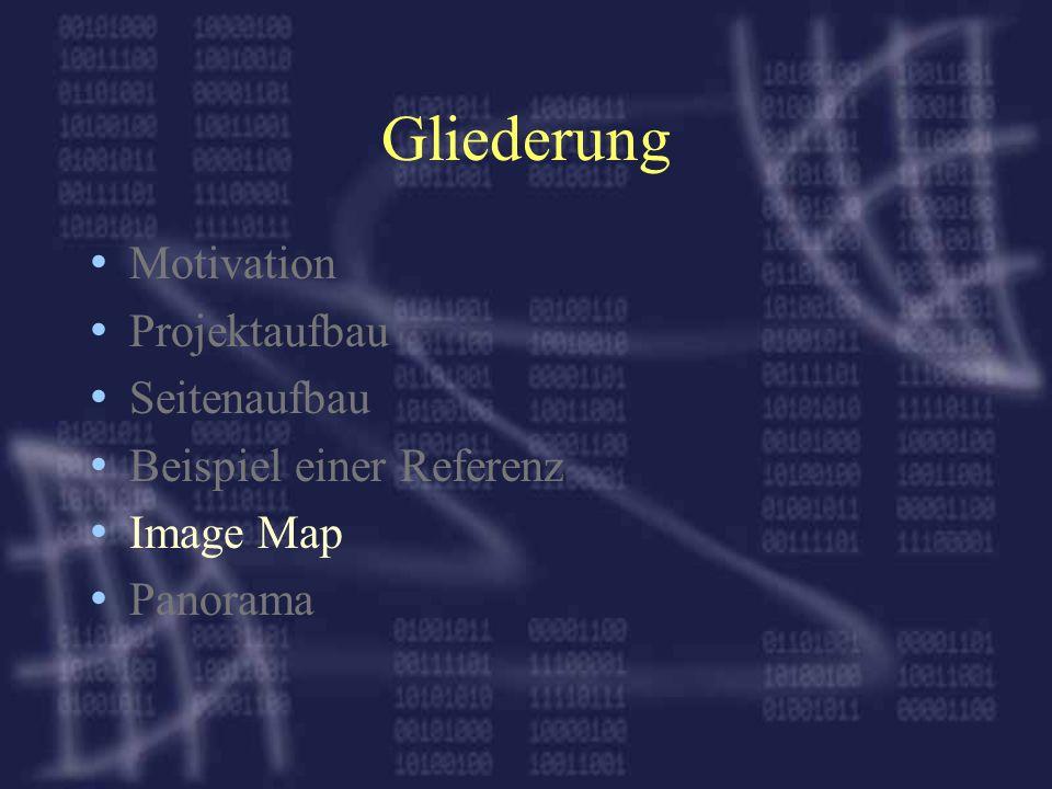 Gliederung Motivation Projektaufbau Seitenaufbau Beispiel einer Referenz Image Map Panorama