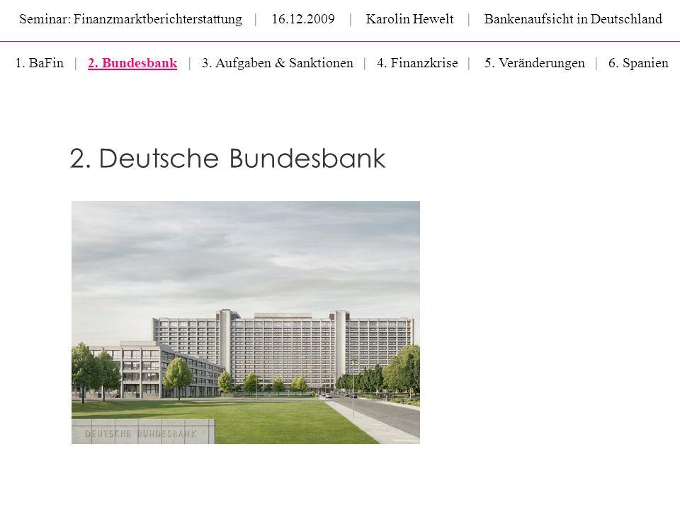 Seminar: Finanzmarktberichterstattung | 16.12.2009 | Karolin Hewelt | Bankenaufsicht in Deutschland 2. Deutsche Bundesbank 1. BaFin | 2. Bundesbank |