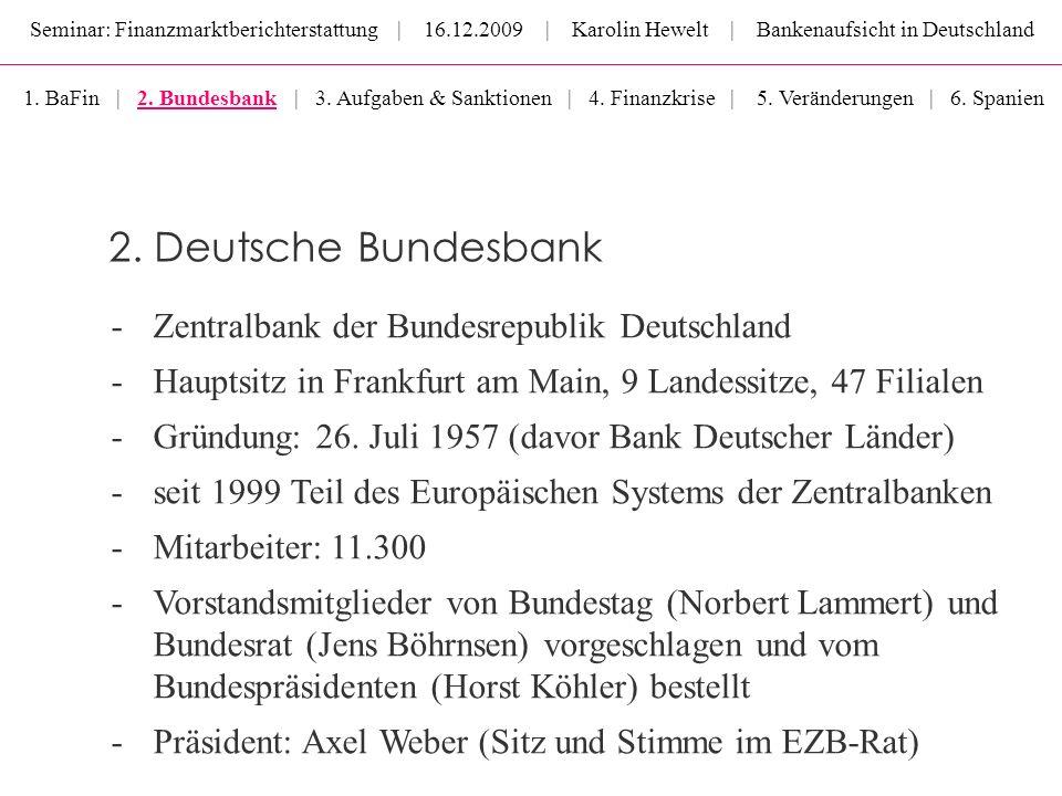 Seminar: Finanzmarktberichterstattung | 16.12.2009 | Karolin Hewelt | Bankenaufsicht in Deutschland -Zentralbank der Bundesrepublik Deutschland -Haupt