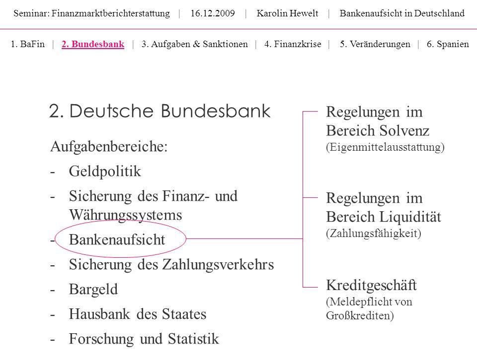 Seminar: Finanzmarktberichterstattung | 16.12.2009 | Karolin Hewelt | Bankenaufsicht in Deutschland Aufgabenbereiche: - Geldpolitik -Sicherung des Fin