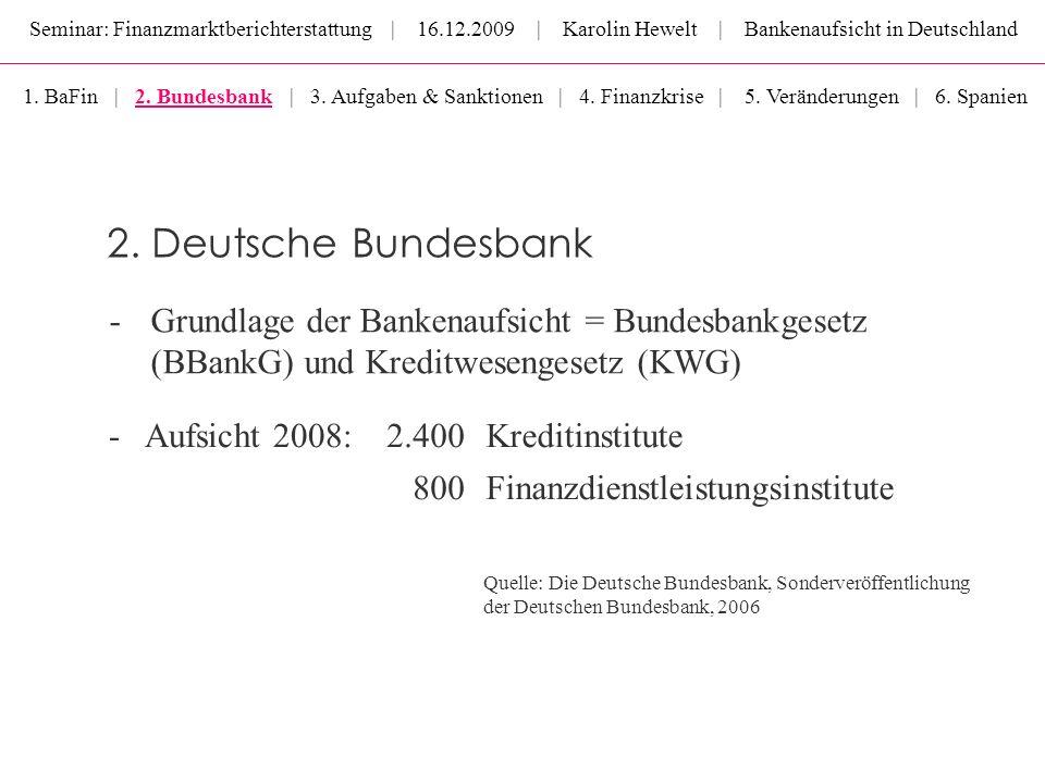 Seminar: Finanzmarktberichterstattung | 16.12.2009 | Karolin Hewelt | Bankenaufsicht in Deutschland -Grundlage der Bankenaufsicht = Bundesbankgesetz (