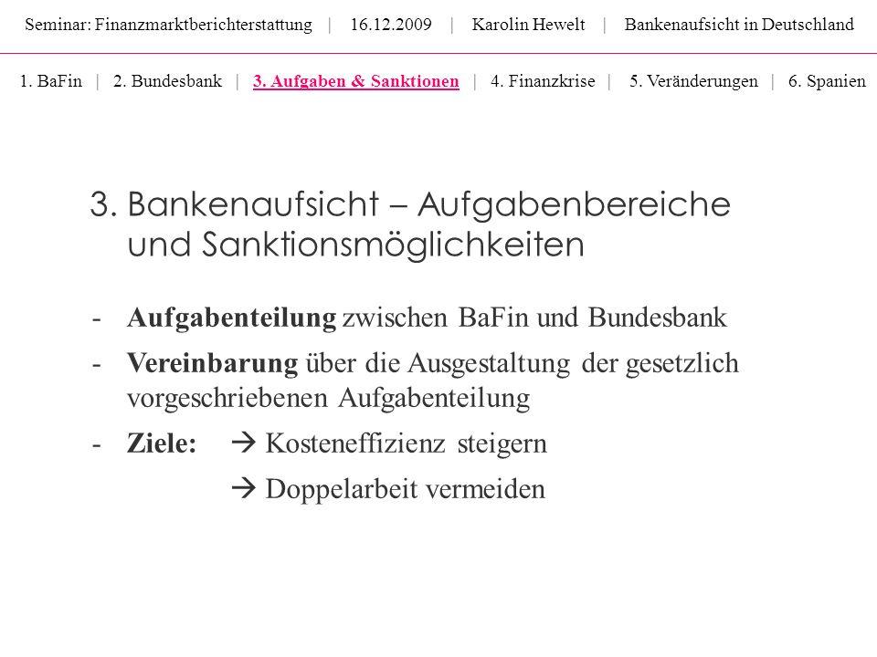 Seminar: Finanzmarktberichterstattung | 16.12.2009 | Karolin Hewelt | Bankenaufsicht in Deutschland 1. BaFin | 2. Bundesbank | 3. Aufgaben & Sanktione