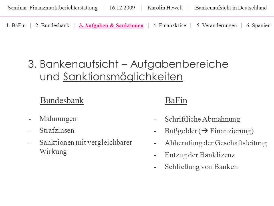 Seminar: Finanzmarktberichterstattung | 16.12.2009 | Karolin Hewelt | Bankenaufsicht in Deutschland BundesbankBaFin 3. Bankenaufsicht – Aufgabenbereic