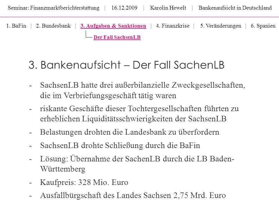 Seminar: Finanzmarktberichterstattung | 16.12.2009 | Karolin Hewelt | Bankenaufsicht in Deutschland 3. Bankenaufsicht – Der Fall SachenLB 1. BaFin | 2
