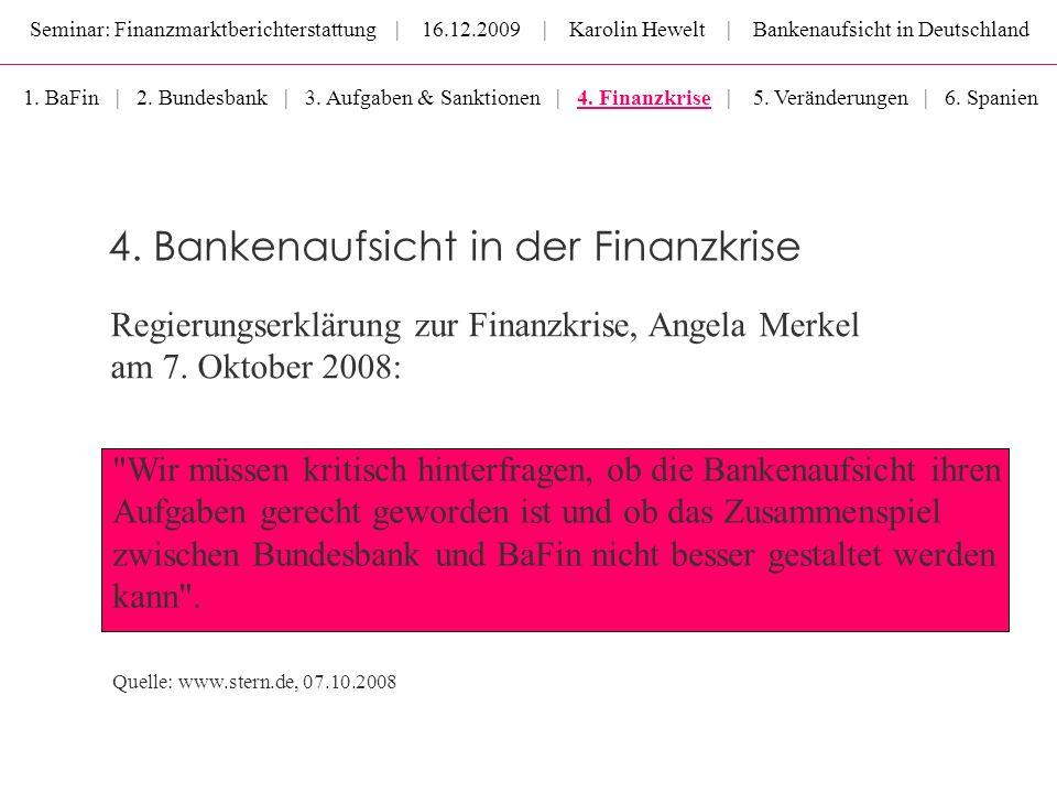 Seminar: Finanzmarktberichterstattung | 16.12.2009 | Karolin Hewelt | Bankenaufsicht in Deutschland 4. Bankenaufsicht in der Finanzkrise 1. BaFin | 2.