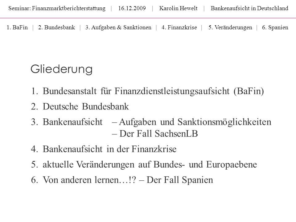 Seminar: Finanzmarktberichterstattung | 16.12.2009 | Karolin Hewelt | Bankenaufsicht in Deutschland Gliederung 1.Bundesanstalt für Finanzdienstleistun