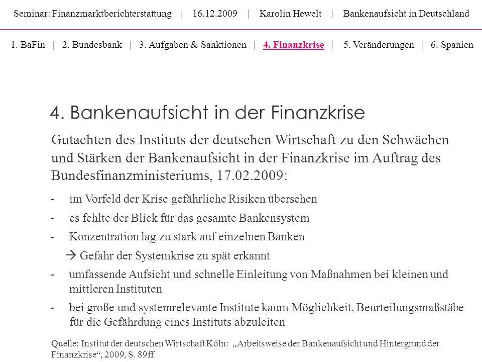 Seminar: Finanzmarktberichterstattung | 16.12.2009 | Karolin Hewelt | Bankenaufsicht in Deutschland Gutachten des Instituts der deutschen Wirtschaft z