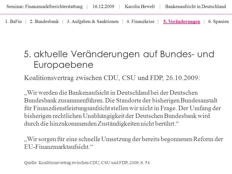 Seminar: Finanzmarktberichterstattung | 16.12.2009 | Karolin Hewelt | Bankenaufsicht in Deutschland 5. aktuelle Veränderungen auf Bundes- und Europaeb